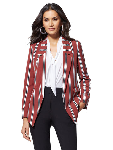 7th Avenue - Soft Stripe Madie Blazer in Turkish Rust