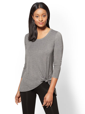 Soho Street - Knot-Front Hi-Lo Tunic Top in Carlson Grey