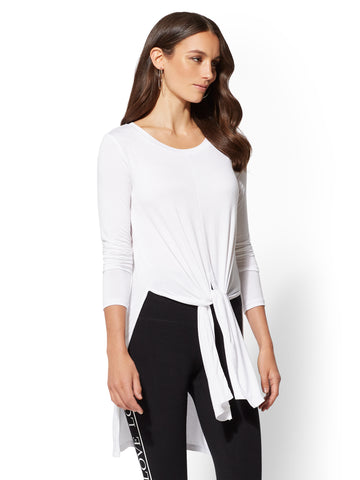 Soho Street - Tie-Front Tunic Top in Optic White
