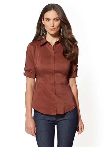 7th Avenue - Madison Stretch Shirt in Turkish Rust
