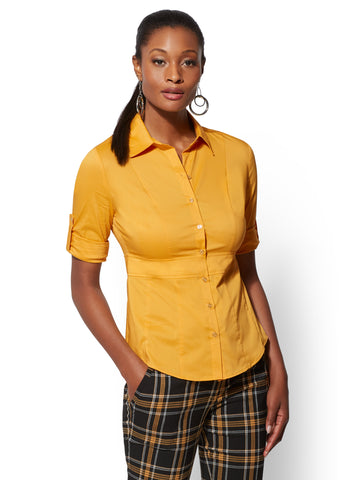 7th Avenue - Madison Stretch Shirt in Gold Exchange