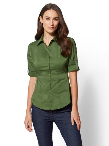 7th Avenue - Madison Stretch Shirt in Regiment Green