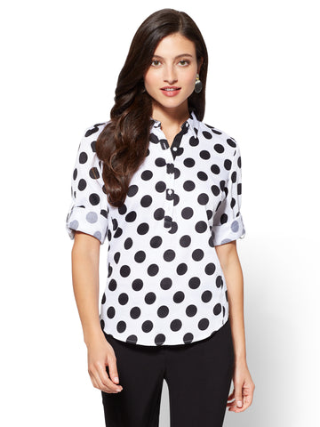 7th Avenue - Madison Stretch Shirt - Dot in Optic White