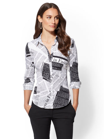7th Avenue - Print 3/4-Sleeve Madison Shirt in Optic White