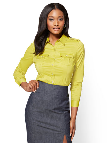 7th Avenue SecretSnap Madison Shirt in Renewing Green