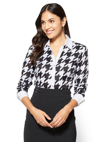 7th Avenue SecretSnap Madison Stretch Shirt in Houndstooth
