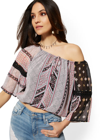 Crochet-Trim Off-The-Shoulder Peasant Blouse in Black