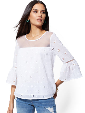 b043fd069840b9 New York & Company White Eyelet Bell-Sleeve Blouse in Paper White