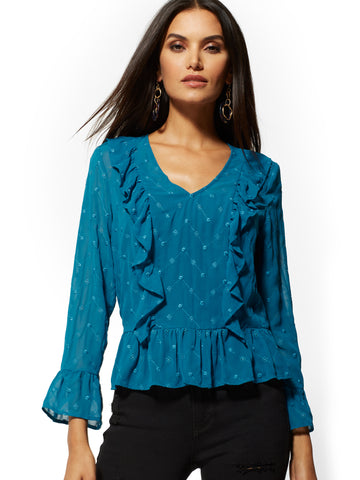 Ruffled Eyelet Blouse in Blue Teal