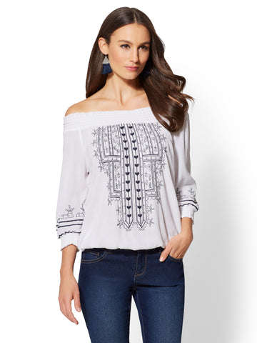 Embroidered Off-The-Shoulder Blouse in Paper White