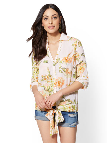 Floral Tie-Front Blouse in Pure Peach