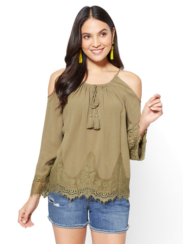 Lace Cold-Shoulder Blouse in Union Square Green