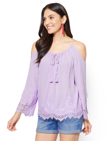 Lace Cold-Shoulder Blouse in Breezy Lilac