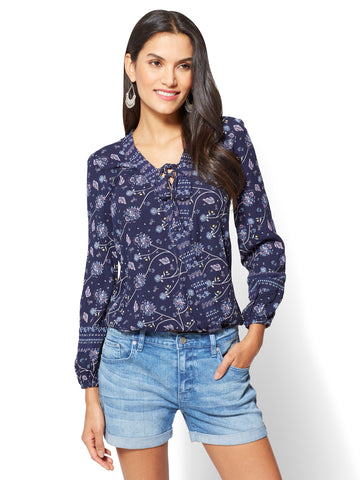 Lace-Up Surplice Floral Blouse in Grand Sapphire