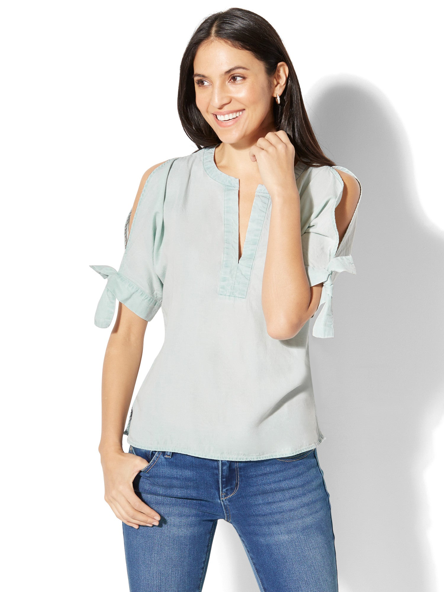 5e4919d974a5fc Cold-Shoulder Ultra-Soft Chambray Shirt in Icy Blue Wash