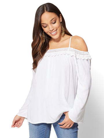 Bell-Sleeve Off-The-Shoulder Blouse in Paper White