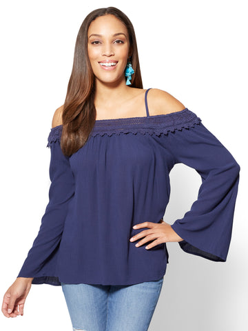 Bell-Sleeve Off-The-Shoulder Blouse in Grand Sapphire