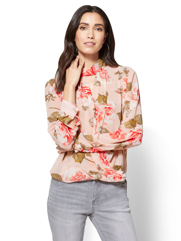 High-Neck Wrap Blouse - Floral  in Pink Honeybunch