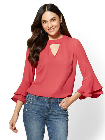 Soho Soft Shirt - Ruffled-Cuffs Blouse in Weathered Rose