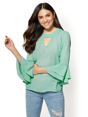Soho Soft Shirt - Ruffled-Cuffs Blouse in Aqua Is Fresh