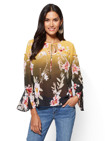 Ruffled Self-Tie Blouse - Floral in Enduring Gold