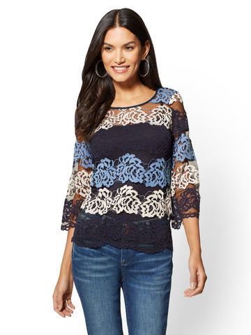 Bell-Sleeve Lace Blouse in Grand Sapphire