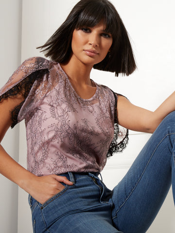 Lilac Lace-Overlay Top in Dreamy Lilac