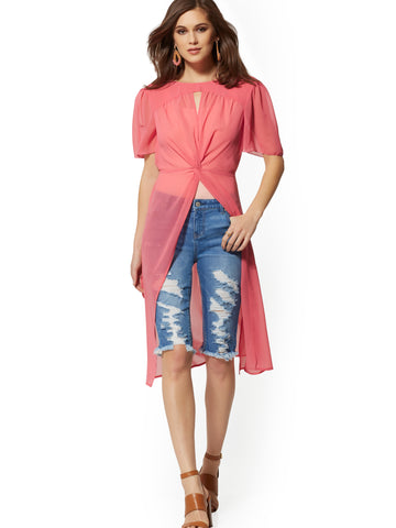 Rose Twist-Front Maxi Blouse in Radiant Rose