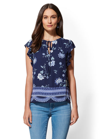 Mixed-Print Ruffled Short-Sleeve Blouse in Grand Sapphire