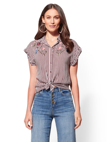 eb92e81874d NEW YORK   COMPANY Embroidered Stripe Shirt in True Burgundy