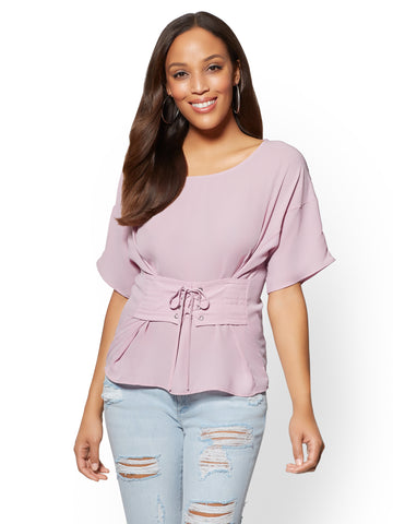 Short-Sleeve Corset Blouse in Dreamy Lilac