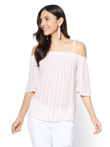 Soho Soft Shirt - Off-The-Shoulder Blouse in Coral Cream