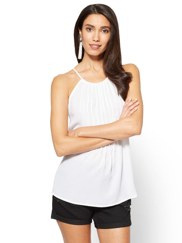 Soho Soft Shirt - Pleated Halter Blouse in Paper White