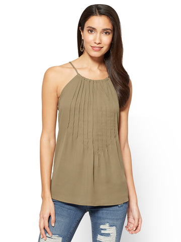 Soho Soft Shirt Pleated Halter Blouse in Union Square Green