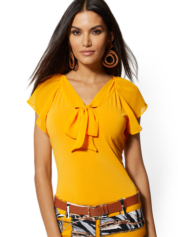 Tie-Front V-Neck Top - 7th Avenue in Sundrenched Gold