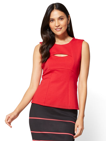 7th Avenue - Cutout Shell Top - Red  in Cherry Red