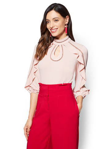 Embroidered & Ruffled Keyhole Blouse in Pink Honeybunch