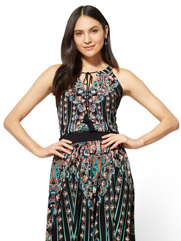 7th Avenue - Tie-Front Halter Blouse - Print in Black