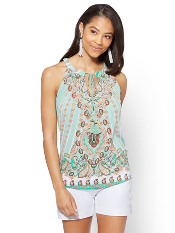 7th Avenue - Tie-Front Halter Blouse - Print in Creamy Mint