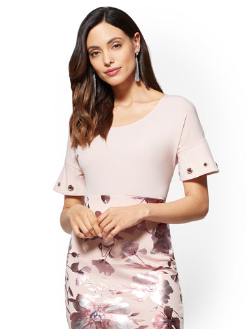 7th Avenue - Grommet-Accent Tee in Pink Honeybunch