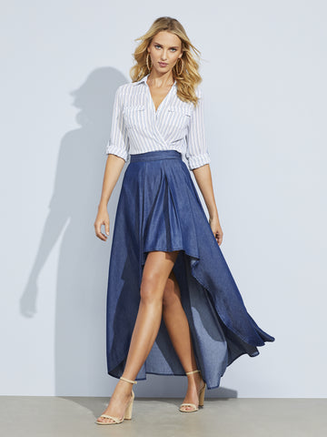 Blue Denim Hi-Lo Skirt in Medium Blue Wash