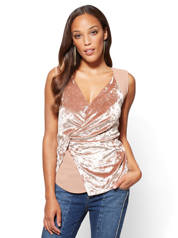 Velvet Wrap Top in Blush