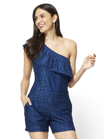 Lace-Overlay One-Shoulder Top in True Indigo