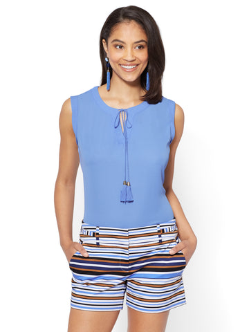 7th Avenue - Tassel-Accent Split-Neck Shell in Pure Blue