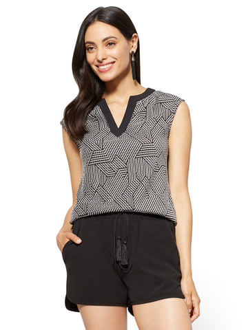 7th Avenue - Woven-Front Shirred Shell in Black
