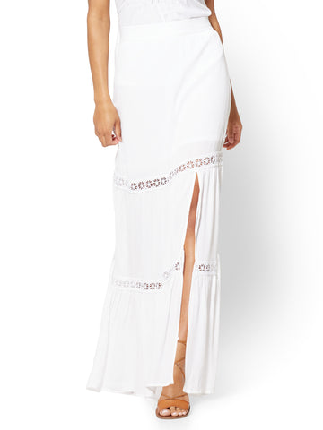 Lace-Inset Maxi Skirt in Paper White