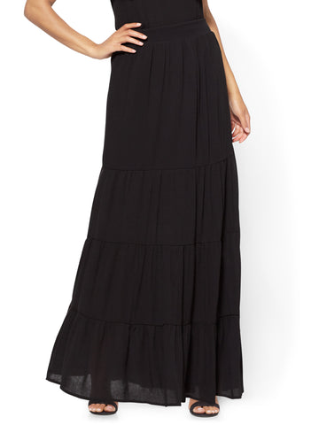Tiered Maxi Skirt in Black
