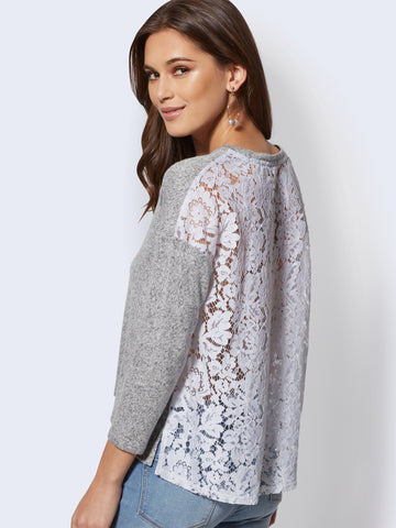 864d668b686 New York   Company Lace-Back Hacci-Knit Top in Grey