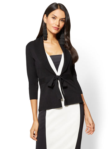 7th Avenue - Bow-Accent Shawl-Collar Cardigan in Black