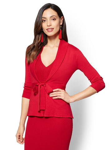7th Avenue - Bow-Accent Cardigan in Flamenco Red
